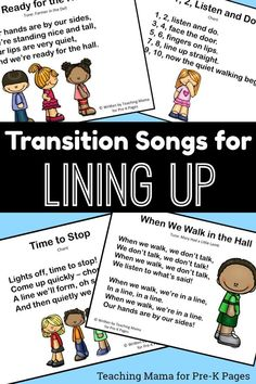 lining up songs for preschool - printables