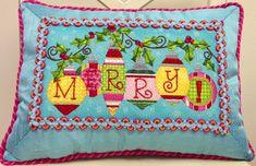 merry, needlepoint Christmas pillow, Raymond Crawford canvas