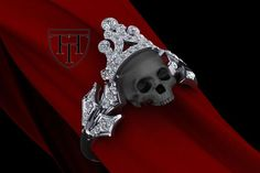2.00 CT White Round Cut 925 Silver Skull Gothic Engagement Ring @ Free Ship #Solitaire