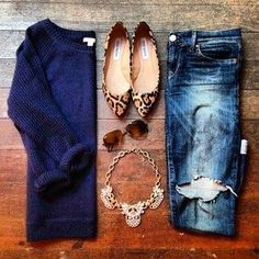 animal print flats + boyfriend jeans + navy blue sweater.