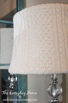 no sew sweater lampshade and i do mean no sew, crafts, home decor, I didn t want to permanently attach the sweater to the shade nor did I want to cut it down where the sweater had no other purpose so I passed up on the hot glue and needle and thread and opted instead for