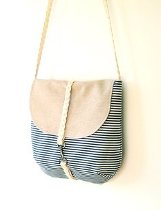 Dark Blue Stripe Cross OR Shoulder Bag  with braid strap and bronze closure - Oatmeal Color, Unique Design of BagyBag. via Etsy. love!