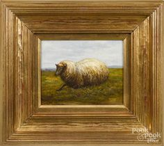 Contemporary oil on canvas of a sheep, 8'' x 10''.