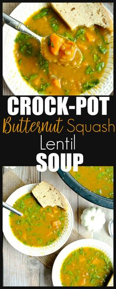 A quick and easy and h… Slow Cooker Crockpot Butternut Squash Lentil Soup recipe. A quick and easy and healthy weeknight dinner idea! via Flaherty Slow Cooker Lentils, Slow Cooker Soup, Slow Cooker Recipes, Crockpot Recipes, Clean Dinner Recipes, Clean Eating Dinner, Clean Eating Recipes, Healthy Eating, Lentil Soup Recipes