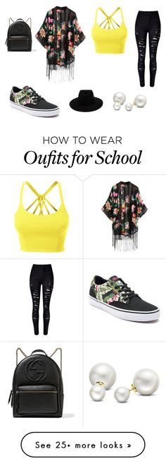 """""""Friends (Dolan Twins) - Mackenzies last day of school outfit"""" by madisonclarktwins on Polyvore featuring LE3NO, WithChic, Vans, rag & bone, Allurez and Gucci"""