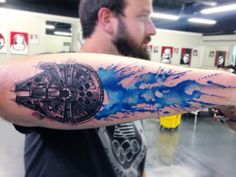 Awesome Millennium Falcon Star Wars Watercolor Tattoo – D. ( on Ins… Awesome Millennium Falcon Star Wars Watercolor Tattoo. Dope Tattoos, Star Tattoos, Body Art Tattoos, Sleeve Tattoos, Tattoos For Guys, Female Tattoos, Star Wars Tattoo, Millennium Falcon, Tatoo Simple