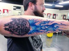 "Awesome Millennium Falcon Star Wars Watercolor Tattoo - D. (@dzamakesart) on Instagram: ""#millenniumfalcon #starwars #starwarstattoo"