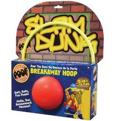 """Breakaway Hoop Set - Hang this hoop over the door and get ready for some Serious Slam Dunk Action! The POOF® Breakaway Hoop capitalizes on the popularity of the """"breakaway rim"""" concept . The Breakaway Hoop consists of a rim which hangs on a screwless door mount, a backboard, and a soft, safe 4"""" mini foam basketball."""