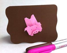 Petit cochon! Origami, Etsy, Couture, Plush, Cards, Paper, Haute Couture, High Fashion, Paper Folding