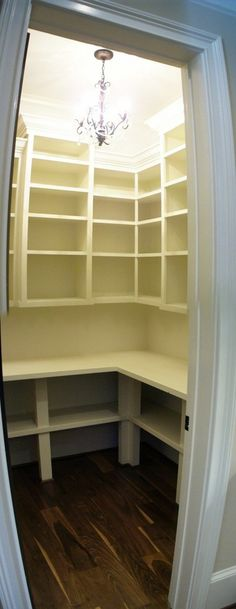 Great idea for pantry set up, leave space for appliances (Kitchen Aid mixer, Cuisinart, etc)