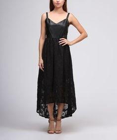 Love this Black Floral Faux Leather Hi-Low Dress by Moon Collection on #zulily! #zulilyfinds
