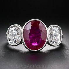 3.13 Carat Burmese Ruby and Diamond Three-Stone Ring