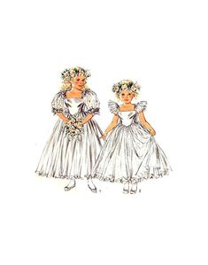 80s Style 1510 Child's Flower Girl, Bridesmaid Ballerina Skirt, Puffy Dress with Sleeve Variations, Uncut, F/Folded, Sewing Pattern Size 5 Puffy Dresses, Dresses With Sleeves, 80s Style, See Picture, Fitted Bodice, 80s Fashion, Ballerina, Sewing Patterns, Bows