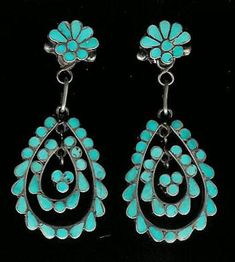 Zuni earrings - Back of the Wagon has a case of turquoise