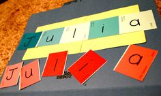 Preschool Activity- recognizing letters in own name.  LOVE THIS.