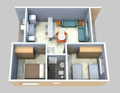 Little House Plans, 3d House Plans, Garage Floor Plans, 2 Bedroom House Plans, Small House Plans, Bungalow Haus Design, House Design, Small Tiny House, Small Space Interior Design