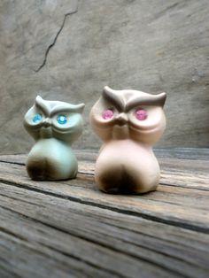 2 Cute Owl Figurines