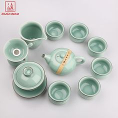 ZGJGZ Traditional Chinese Teacup Porcelain Kung Fu Teapot Master Celadon Gaiwan Teaware Set With Tea Strainer