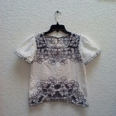 *HP!* My Beloved White Embroidered Blouse *3/6/16 Wardrobe Goals Party Host Pick!* My Beloved brand, size S/M, in excellent condition! Wrinkled in photos from wash and hang dry. Blouse is white with navy embroidery. Sleeves are puffy. The details in this top are amazing! Please ask any and all questions before purchasing. No trades. Make a reasonable offer. Thanks! Boutique Tops Blouses