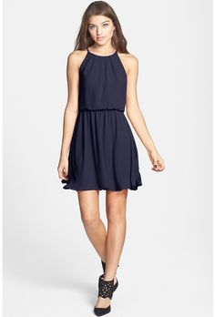 Brides.com: Affordable (and Stylish!) Bridesmaid Dresses Under $100 . Blouson chiffon skater dress, $46, Lush available at Nordstrom  See more short bridesmaid dresses.