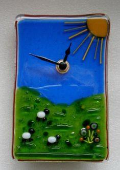 Fused glass Sheepy wall clock £50.00