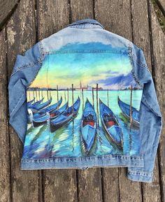 Painted Denim Jacket, Painted Jeans, Hand Painted, Painted Clothes, Levi Denim Jacket, Denim Jackets, Denim Art, Creative And Aesthetic Development, Denim Ideas