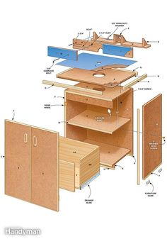 Router Table Plans: Stability, storage and a whole lot more - Exploded view of the router table.  Read more: http://www.familyhandyman.com/tools/routers/router-table-plans/view-all