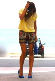 yellow top royal blue heels tribal print shorts