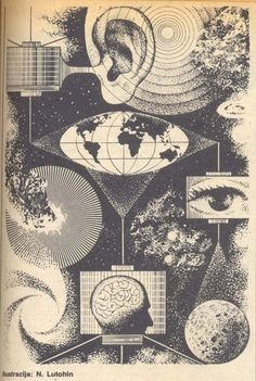 Illustration by Nikolai Lutohin published in the and in the now-defunct Yugoslavian science magazine Galaksija. Gravure Illustration, Science Illustration, Space Illustration, B&w Wallpaper, Science Magazine, Science Art, Science Space, Memento Mori, Psychedelic Art