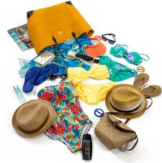 Things to pack for a trip to the beach.  Don't forget sunnies, suncream and a hat!