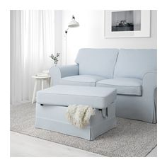 EKTORP Footstool - Nordvalla light blue - IKEA