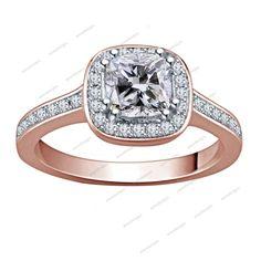 14k Rose Gold Fn 925 Silver Cushion & Round D/VVS1 Diamond Women's Wedding…
