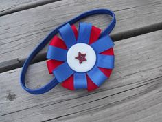Patriotic Rosette headband with Star button by FlossiesBlossom, $10.00
