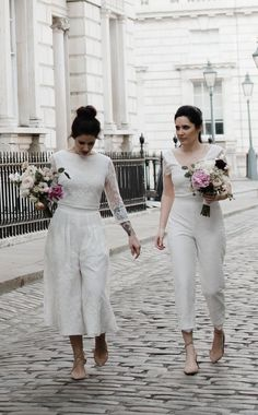Brides of Ollichon – Liv and Lucy – Alternative Weddings Dresses Lesbian Wedding Photography, Engagement Photography, Wedding Jumpsuit, Two Brides, Alternative Wedding Dresses, Bridal Separates, Bridal Outfits, Wedding Wear, Wedding Styles