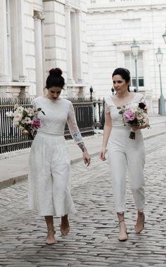 Brides of Ollichon – Liv and Lucy – Alternative Weddings Dresses Lesbian Wedding Photography, Engagement Photography, Wedding Jumpsuit, Two Brides, Alternative Wedding Dresses, Bridal Separates, Bridal Outfits, Wedding Wear, Wedding Styles