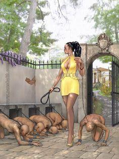 A Lady who looks like Goddess Ezada Sinn is inspecting Her stable - great drawing from amazing artist Nanshakh (www.nanshakh.com)