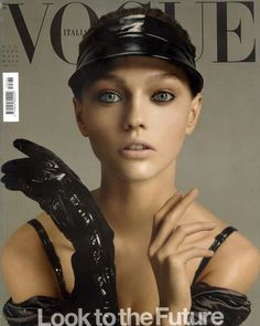The stunning Sasha Pivovarova on the cover of the VOGUE Italia 'Look to the Future' issue shot by Steven Meisel with makeup by Pat McGrath. December 2005. Serving PERMAGEL ULTRA GLIDE EYE PENCIL inspiration. #PatsArchive