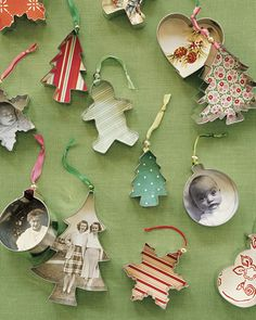 Christmas Ornament Idea - attach pictures or festive paper to cookie cutters.