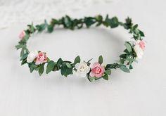 Newborn Hair Crown, Baby Flower Crown, Newborn Photography, Peach & White Rose Circlet, Newborn Head Wreath, Flower Girl Halo, Toddler Crown