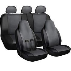 OxGord Car Seat Cover - PU Leather Two Toned with Front Low Bucket and or Rear Split Bench - Universal Fit for Cars, Trucks, SUVs, Vans - 10 pc Complete Full Set Automotive Seat Covers, Cool Car Accessories, Dodge Accessories, Seat Belt Pads, Leather Car Seat Covers, Car Seat Cover Sets, Dog Car Seats, Fit Car, Wheel Cover