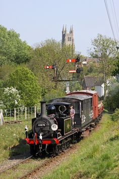 "The Locomotive is an ""Terrier"" Class tank engine No. 3 ""Bodiam"", built in 1872 by the London, Brighton & South Coast Railway as No. 70 ""Poplar"" to a design by William Stroudley. Steam Trains Uk, Old Steam Train, England Countryside, British Countryside, Train Car, Train Tracks, Southern Trains, Uk Rail, Liverpool Docks"
