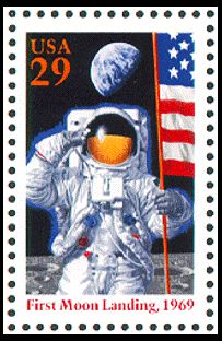 This is one of two stamps issued to commemorate the twenty-fifth anniversary of the first successful moon landing, on July 20, 1969.