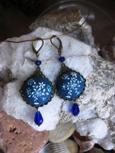 Dark blue polymer clay earrings ocean blue by LandOfJewellery, $32.00