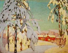 "[""Winter Landscape with Pink House"" by Lawren Harris, 1918 (Canadian artist from the Group of Seven. Landscape Art, Landscape Paintings, Canadian Painters, Canadian Artists, Moritz Von Schwind, Emily Carr, Tom Thomson, Inspiration Art, Snow"