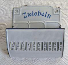 """Zwiebeln"" (onions) Vintage German Enamel Wall Pocket / Onion Holder by vintagous, $69.00"