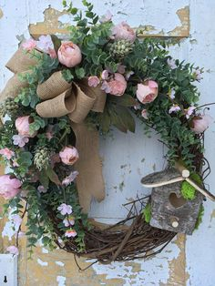 Spring Wreath Etsy Wreath Rustic Spring Wreath with