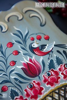 Hand Painted Fabric, Hand Painted Furniture, Folk Art Flowers, Flower Art, Tole Painting, Fabric Painting, Fancy Fence, Saree Painting Designs, Rosemaling Pattern