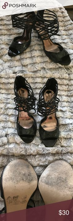 Pierre Dumas Black grey snakeskin heels PUNK Gorgeous black and gray Pierre Dumas heels. Like new condition except for the soles these were worn twice. Pierre Dumas Shoes Heels