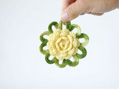 Pale yellow green flower brooch Floral jewelry Eyelet by boorashka,