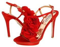 Badgley Mischka red bridal shoes.